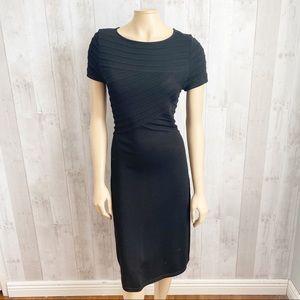 [Worth] Black Seamed Details Stretch Sheath Dress